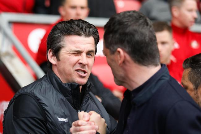 Bristol Rovers boss Joey Barton has a handshake with former Sunderland manager Jack Ross following a previous game against the Black Cats