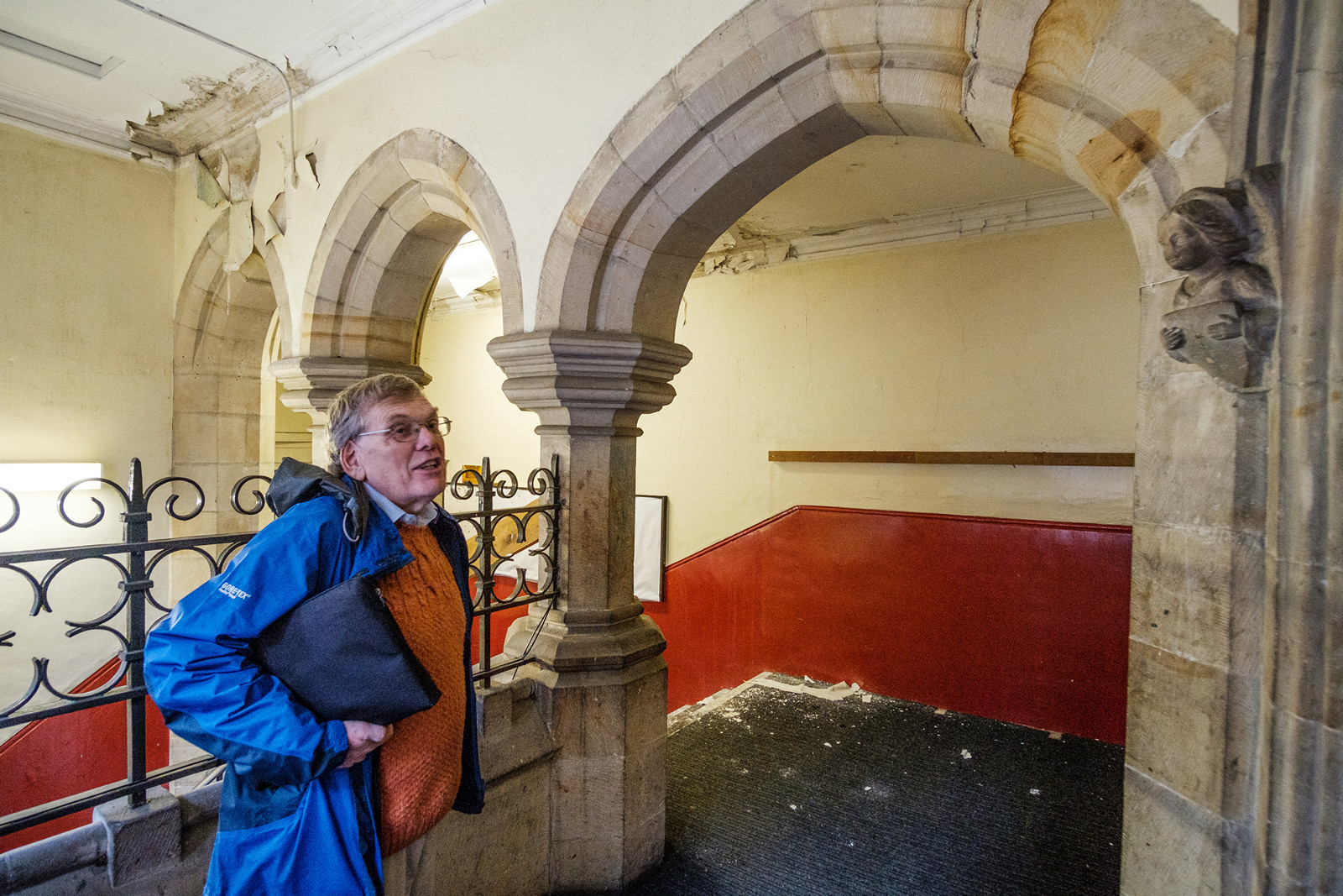 Project leader James Gravenor surveys the damage in the Old Grammar School in Richmond Picture: Guy Carpenter