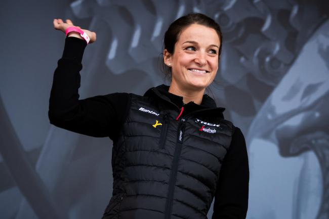 Picture by Alex Whitehead/SWpix.com - 01/05/2019 - Cycling - 2019 Tour de Yorkshire - Eve of Tour Press Conference - Leeds Civic Hall, Leeds, England - Lizzie Deignan of Trek - Segafredo during the Eve of Tour Celebration in Millennium Square.