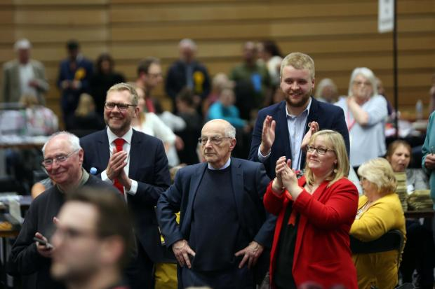 The Northern Echo: Newcastle Labour leader Nick Forbes, long-serving councillor Lord Jeremy Beecham, and Coun Karen Kilgour at the Newcastle City Council local election count