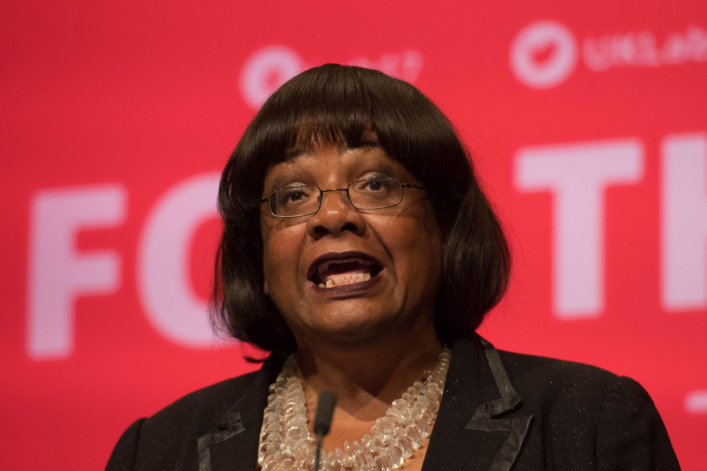 Diane Abbott speaking during the Labour Party annual conference at the Brighton Centre, Brighton. Picture: Stefan Rousseau/PA Wire