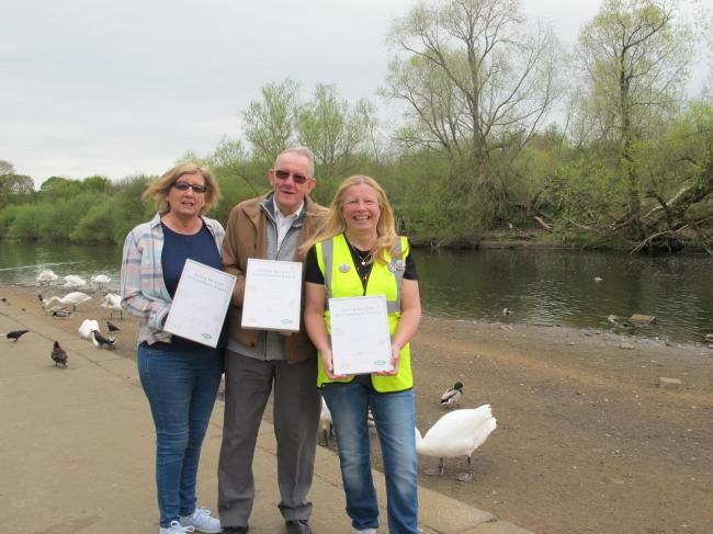 FLOOD WARDENS: Pictured, from left, Joyce Roberts, Derek Briggs and Clare Todd with their Environment Awards at Riverside Park in Chester-le-Street.