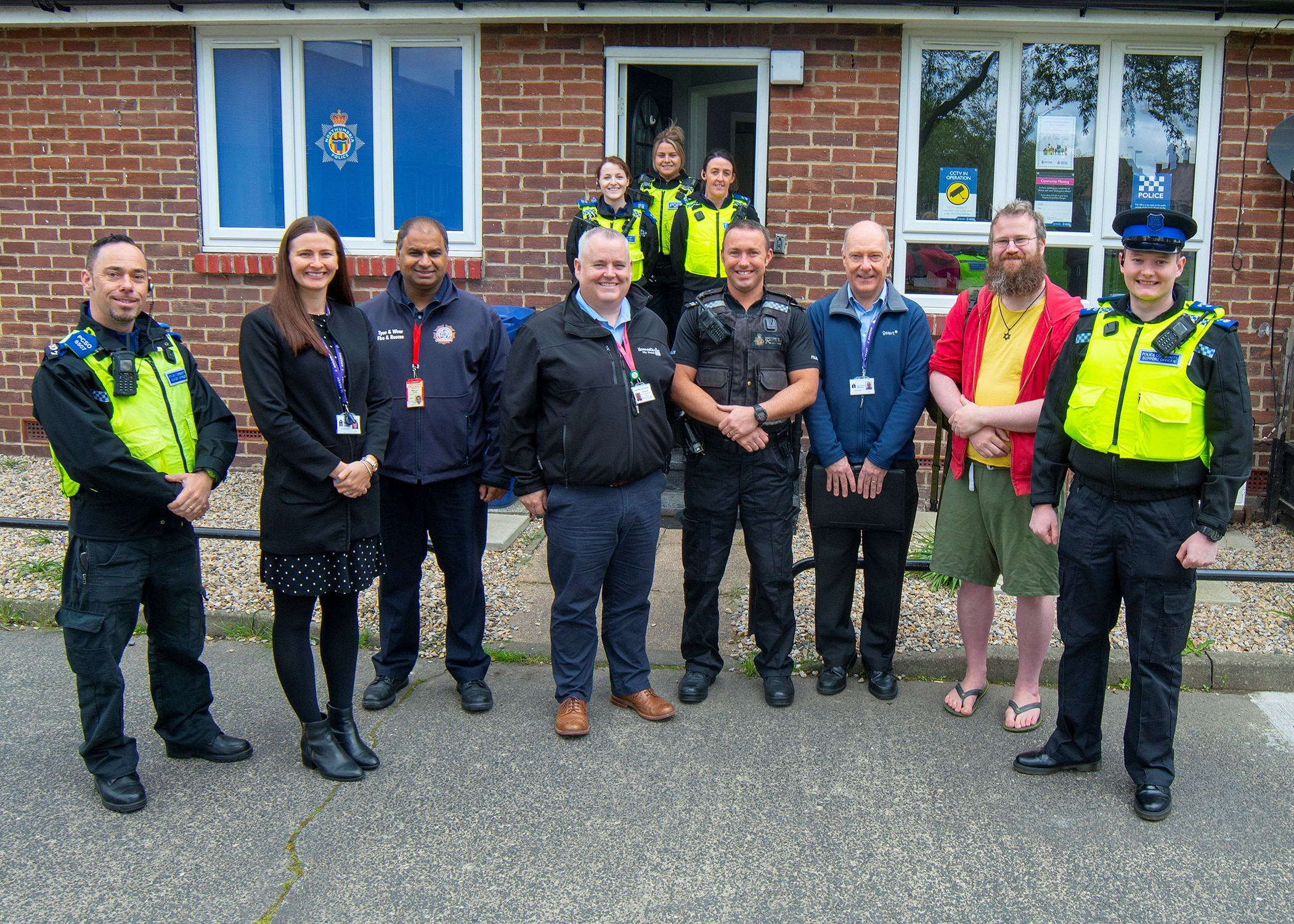 Left to right: Helen Rowley, area manager at Your Homes Newcastle, Mehrban Sadiq from Tyne and Wear Fire and Rescue Service, Darin Maudlin from Newcastle City Council and Sergeant Graham Yare, Peter Winship of Your Homes Newcastle and local councillor Osk