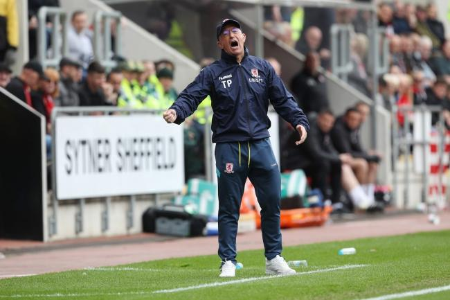 Tony Pulis shows his disappointment during Middlesbrough's final game of the season at Rotherham United last weekend