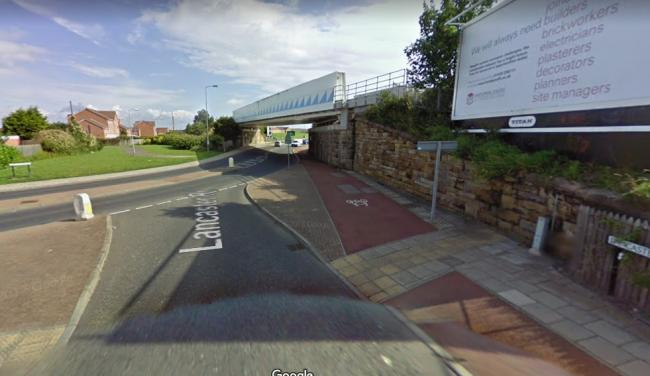 Man injured on rail track next to Lancaster Road, Hartlepool Picture: GOOGLE