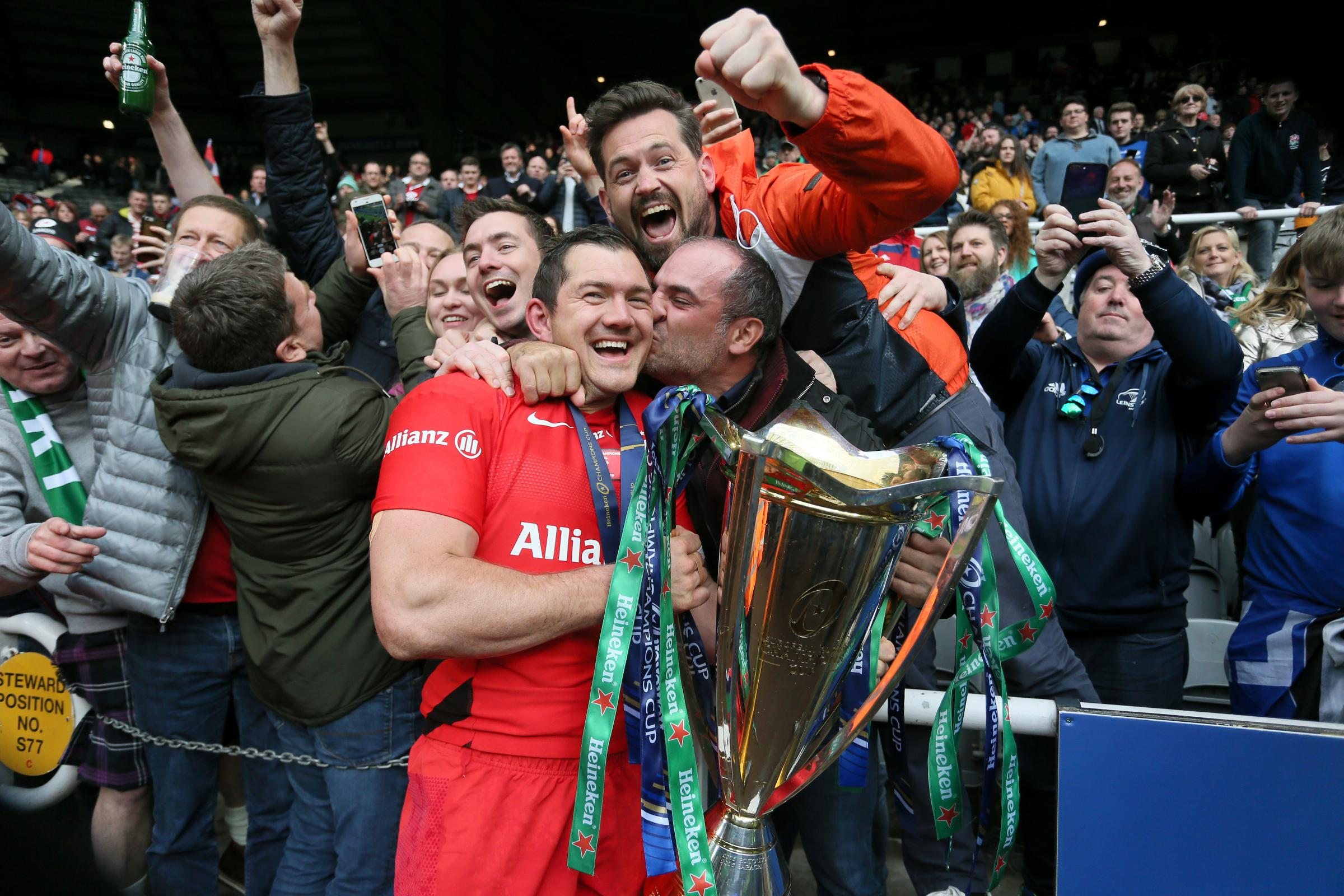 Saracens Alex Goode celebrates with fans after the Champions Cup Final at St James' Park, Newcastle. Picture: Richard Sellers/PA Wire/PA Images