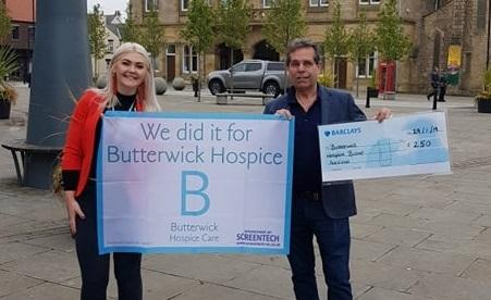Milly Toner from Butterwick Hospice and Councillor Sam Zair