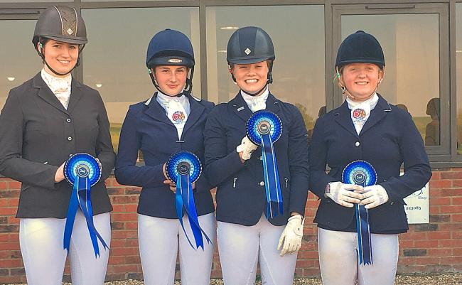 Students from Barnard Castle School after their successful dressage performances at the National Schools Equestrian Association County Championships, left to right, Charlotte Martin, Ruby Todd, Evie Hole-Todd, Ruby Smith