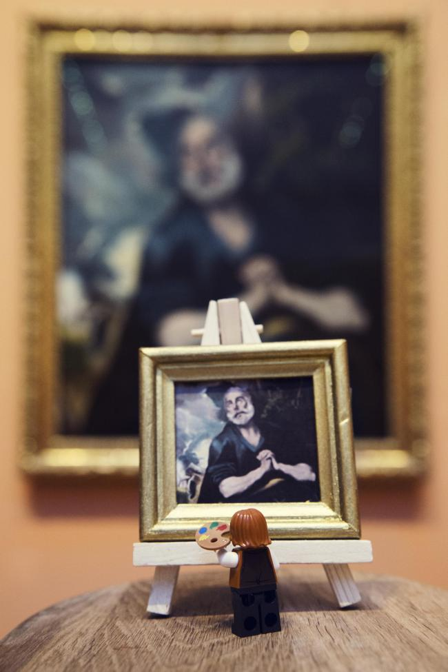 A Lego sculpture painting a picture at The Bowes Museum in Barnard Castle