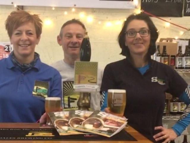 Anne and Rob Dinsdale at their brewery in Askrigg, with Heather Hodgson from the Swaledale Festival