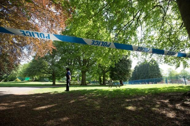 The Northern Echo: A number of PCSOs are stationed at the scene to protect the area of North Park within the cordon near the playground. Picture: CHRIS BOOTH