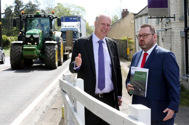 Former Transport Secretary Chris Grayling with Highways England Senior Project Manager Matt Townsend, at the A66, East Layton. Picture: Paul Norris
