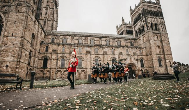 The annual remembrance parade at Durham Cathedral.