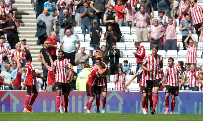 Sunderland's players celebrate Lynden Gooch's winner against Charlton Athletic on the opening day of the League One season