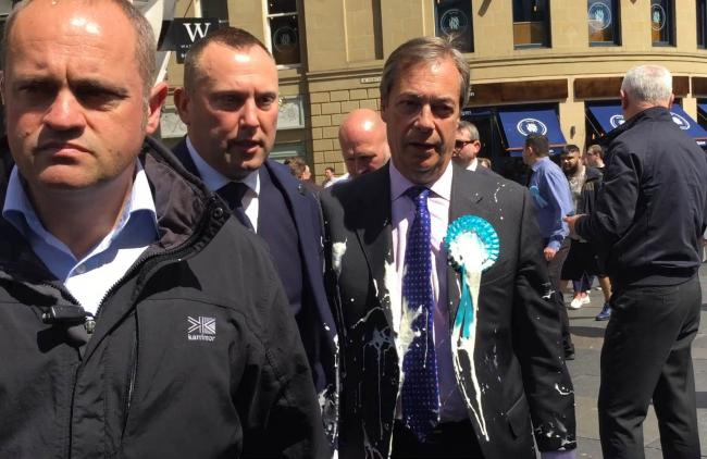 Brexit Party leader Nigel Farage after he was doused in milkshake during a campaign walkabout in Newcastle. Picture: Tom Wilkinson/PA Wire