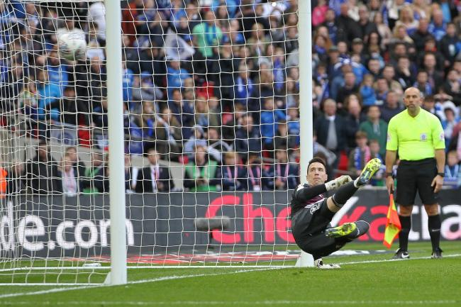 Jon McLaughlin is beaten from the spot during Sunderland's penalty shoot-out defeat to Portsmouth in the Checkatrade Trophy final