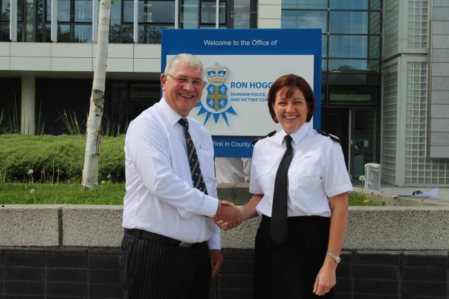 County Durham's Police, Crime and Victims Commissioner Ron Hogg and with Deputy Chief Constable Jo Farrell