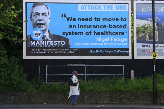 A billboard in Coventry, West Midlands, showing one of Brexit Party leader Nigel Farage's previous policy pronouncements. Picture: Jiri Rezac/Led By Donkeys/PA Wire