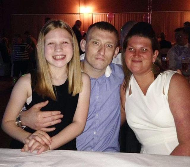Leah-Mae with her dad, John Lewis, and his partner Keighley. Picture: CLEVELAND POLICE