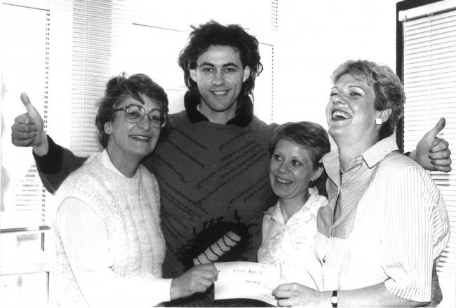 Bob Geldof, and his woodlouse, with Patons and Baldwins staff. Picture: Darlington Centre for Local Studies