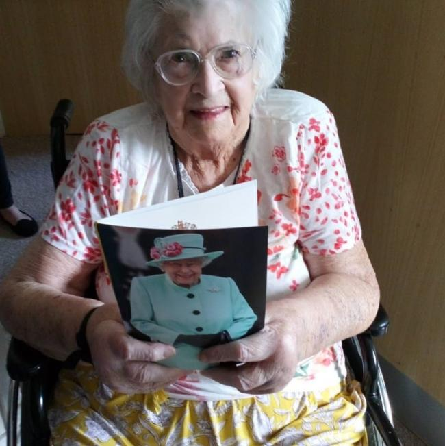 Helena Johnston born in May 1919 celebrated her 100th birthday with a card from the Queen