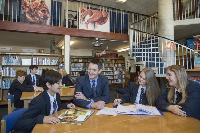 Jonathan Webb with students in the school libraryPicture: RIPON GRAMMAR SCHOOL