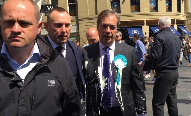 Nigel Farage after he was doused in milkshake during a campaign walkabout in Newcastle. Picture: Tom Wilkinson/PA Wire
