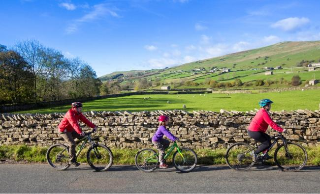 Cyclists on the Swale Trail near Gunnerside in the Yorkshire Dales Picture: STEPHEN GARNETT
