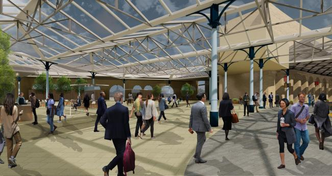 Concept design of the new public realm and retail area that could be created inside Central Station Picture: NEWCASTLE CITY COUNCIL