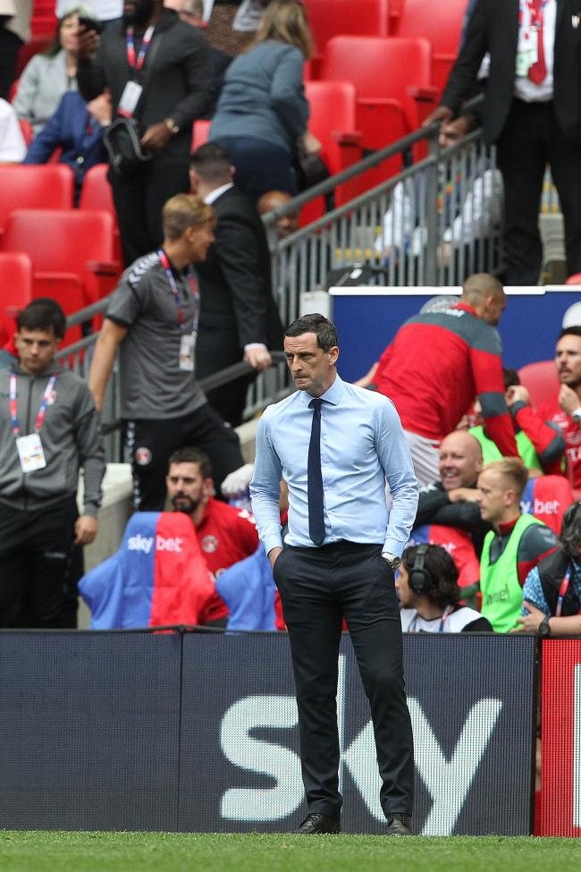 Jack Ross watches on from the sidelines at Wembley (Picture Mark Fletcher/MI News)