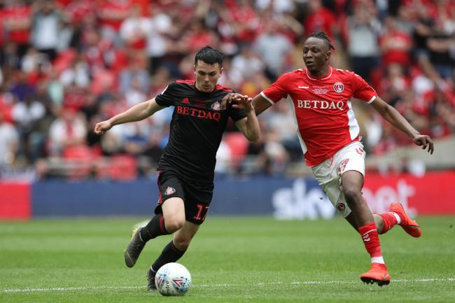 LONDON, ENGLAND 26th May Lewis Morgan of Sunderland battles with Joe Aribo of Charlton Athletic during the Sky Bet League 1 Play Off Final between Sunderland and Charlton Athletic at Wembley Stadium, London on Sunday 26th May 2019. (Credit: Mark Fletcher
