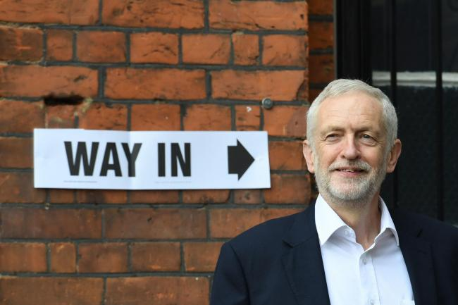 Labour leader Jeremy Corbyn outside the polling station in Islington, north London, where he voted in the European Parliament elections. Picture: Stefan Rousseau/PA Wire
