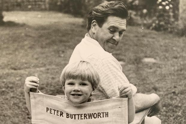 Tyler Butterworth as a young boy with his father, Carry On star Peter Butterworth
