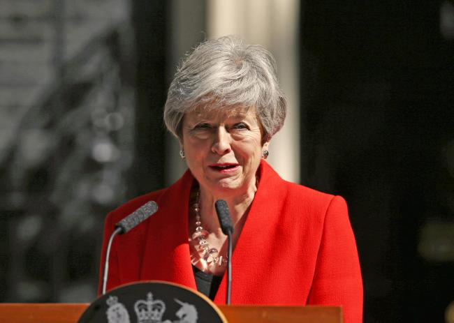 Prime Minister Theresa May makes a statement outside 10 Downing Street on May 24, 2019 in London, England. The prime minister has announced that she will resign on Friday, June 7, 2019.  Picture: Yui Mok/PA Wire