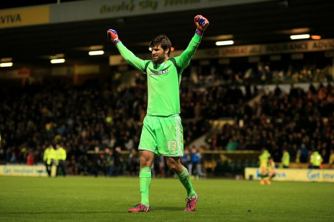 Middlesbrough's Dimitrios Konstantopoulos celebrates victory at the end of the Sky Bet Championship match at Carrow Road, Norwich. PRESS ASSOCIATION Photo. Picture date: Friday April 17, 2015. See PA story SOCCER Norwich. Photo credit should read: Ste