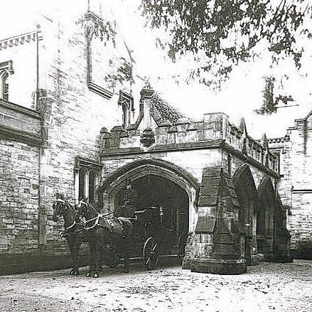 TIMES PAST: The coachman awaits at Pierremont's grand entrance – the big arches have now been demolished