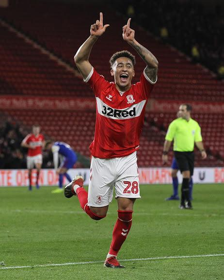 Marcus Tavernier of Middlesbrough celebrates after scoring their second goal during the Sky Bet Championship match between Middlesbrough and Ipswich Town at the Riverside Stadium, Middlesbrough on Saturday 29th December 2018. (Credit: Mark Fletcher | MI N