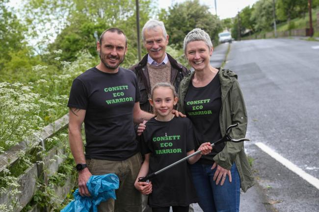 Faye Priestley has started her own litter pick in her hometown of Consett. She is pictured with Darryl Priestley, Louise Priestley and Alex Watson. Picture: TOM BANKS