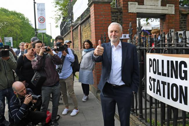 Labour leader Jeremy Corbyn leaves after voting at a polling station in Islington, north London, for the European Parliament elections. Picture: Stefan Rousseau/PA Wire