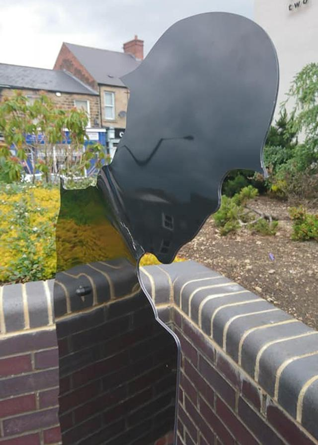 The silent soldier in Spennymoor which has been damaged