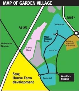 The proposed housing estate at Stag House Farm beside the A1(M)