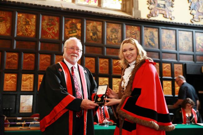 New Mayor of Durham Cllr Katie Corrigan has taken over the role from Cllr John Lethbridge