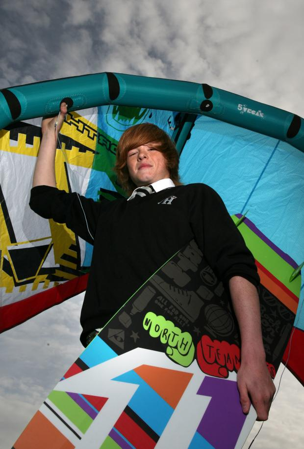 The Northern Echo: In 2010, Jack Daykin, was crowned under 21 British kitesurfing champion at a competition in Blackpool. He is pictured with one of his manys kite  and boards. Picture: DOUG JACKSON