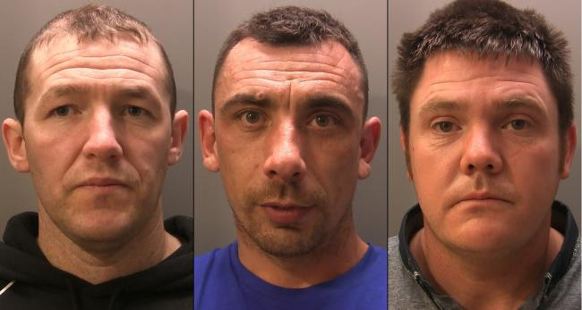 From left, Stephen Cliff, Jonathon Mackenzie and Mark Cooke, who were all jailed for their part in the failed attempt to steal an ATM after using a JCB to smash into a store wall