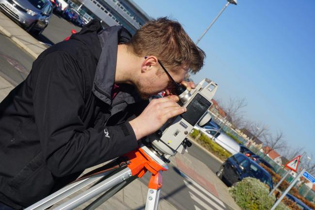 Future proofing, a student  hones his new-found surveying skills as he takes a higher education qualification at Darlington College