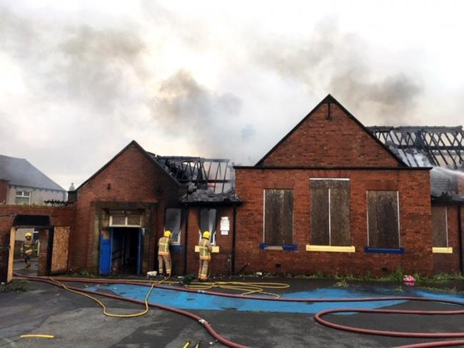 A fire caused extensive to a the former Greenland School in School Terrace, South Moor, Stanley