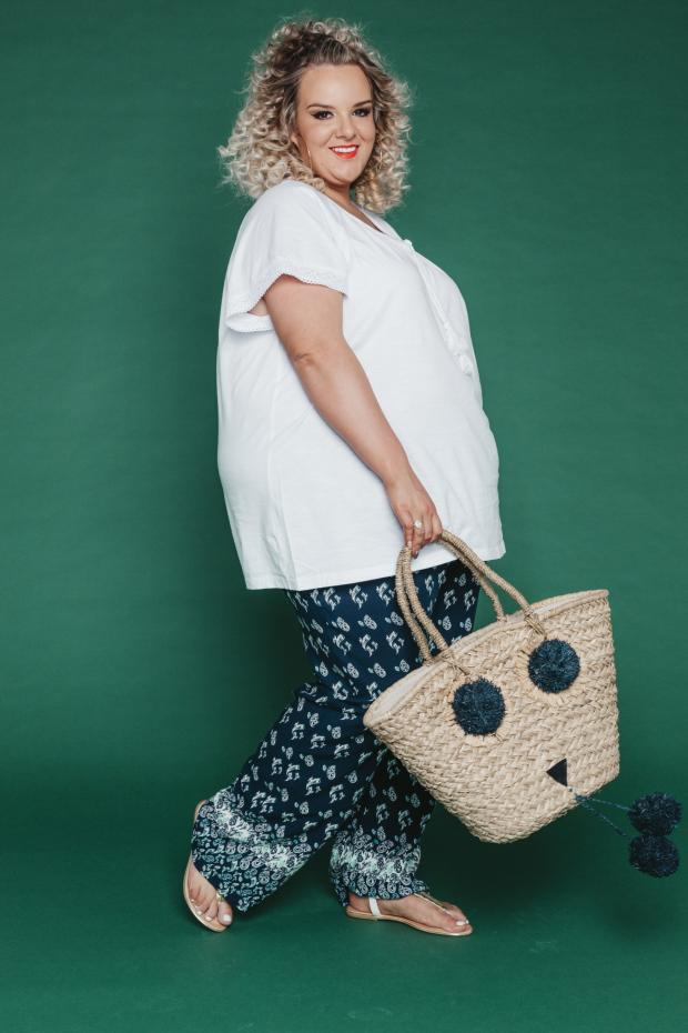 The Northern Echo: Lace detail top £28, trousers £45, Pia Rossini Elmo basket bag £35