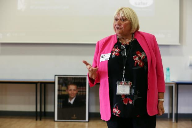 Durham County Councillor Lucy Hovvels, cabinet member for community safety, speaking to school children as part of the Dying to be Cool campaign