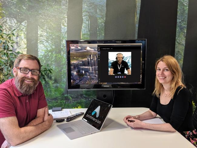 Animmersion's Andrew Liddell and Claire Stockton on a video call with Thomas Butler, director of business development at Mueller