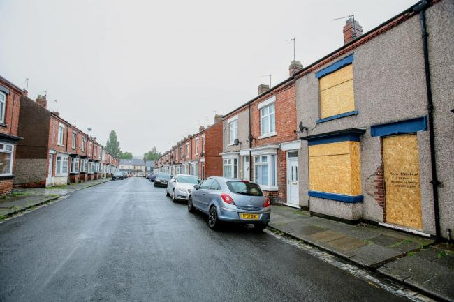 A suspected drug dealing den on Harrison Terrace in the Denes area of Darlington has been closed down and boarded up. Picture: Google